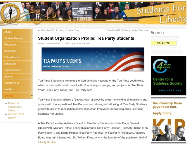 Tea Party Students promoted by Students For Liberty